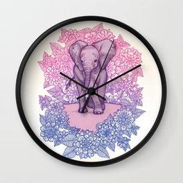 Cute Baby Elephant in pink, purple & blue Wall Clock