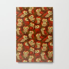 Northern Saw-whet owls pattern. Metal Print