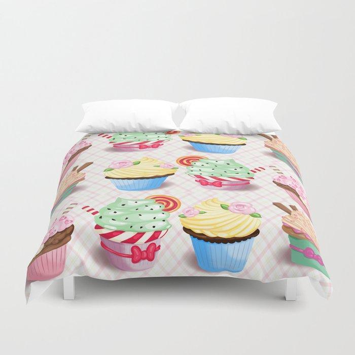 Pretty Cupcake Parade Duvet Cover