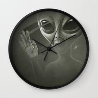 alien Wall Clocks featuring Alien by Dr. Lukas Brezak