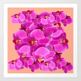 PEACHY CERISE PURPLE ORCHID CLUSTER Art Print