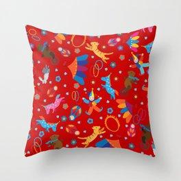 Funny circus cartoon cute animals pattern Throw Pillow
