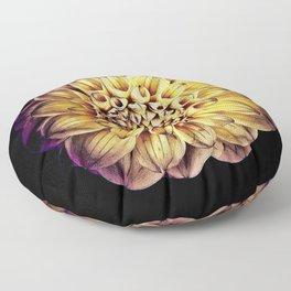 Golden Dahlia Mandala Floor Pillow