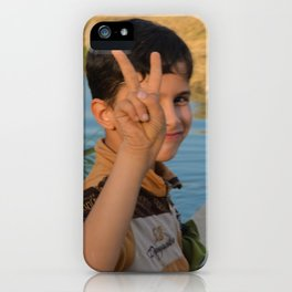 Victory sign from iraqi kid iPhone Case