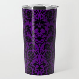 Purple and Black Damask Pattern Design Travel Mug