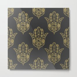 Gold Hamsa Hand Pattern Metal Print