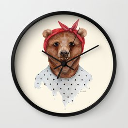 B is for a Brown Bear in a Bandana | Watercolor Animal | Art Print Wall Clock