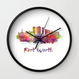 Fort Worth skyline in watercolor Wall Clock