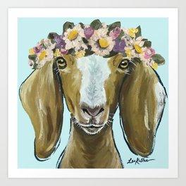 Goat Art, Flower Crown Animal, Cute Goat Painting Art Print