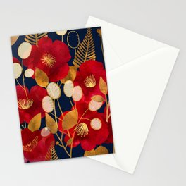 Moody floral camellias and honesty Stationery Cards