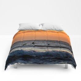 Four Pelicans at Sunrise Comforters