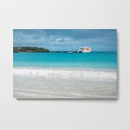 Pier and ferry boat at Kuto Bay in New Caledonia. Metal Print