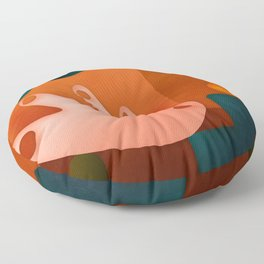 shapes illustrated abstract art Floor Pillow