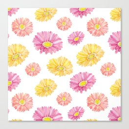 Blush pink yellow watercolor hand painted daisies floral Canvas Print