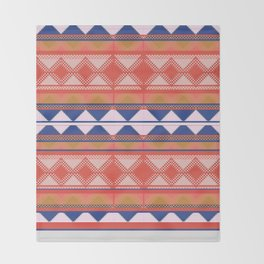 Mix and Match Multi Pattern Blue and Orange Design Throw Blanket