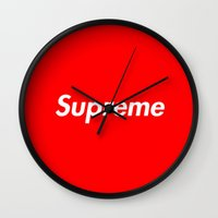 supreme Wall Clocks featuring Supreme by Harry Martin
