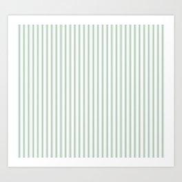 Mattress Ticking Narrow Horizontal Striped Pattern in Moss Green and White Art Print