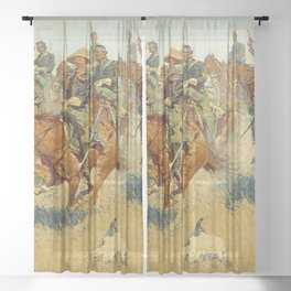 "Frederic Remington Western Art ""On The Southern Plain"" Sheer Curtain"