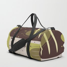 Mid Century Modern Abstract Print Geometric Circles and Rectangles Green and Brown Duffle Bag