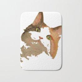 I'm All Ears - Cute Calico Cat Portrait Bath Mat