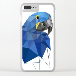 Hyacinth Macaw Blue parrot Birds and animals art Clear iPhone Case