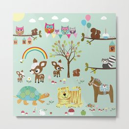 Animal Park Collage - Nursery Decor Metal Print