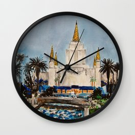 Oakland California LDS Temple Dusk Wall Clock