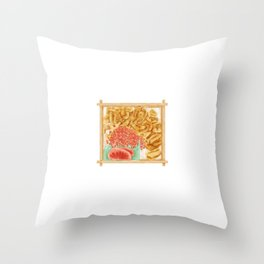 Japanese sea urchin roe bento | 海胆鱼子饭便当 Throw Pillow