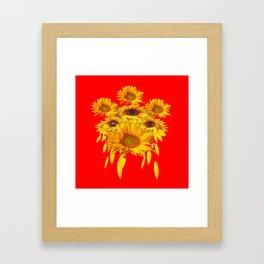 Decorative Red Sunflowers Art Abstract Framed Art Print