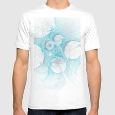 Turquoise Fractal Mens Fitted Tee White MEDIUM