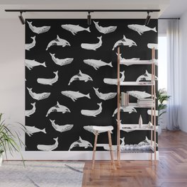 Whales orcas sperm whale species ocean pattern art linocut nature animals Wall Mural