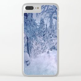 snow stars only trees Clear iPhone Case