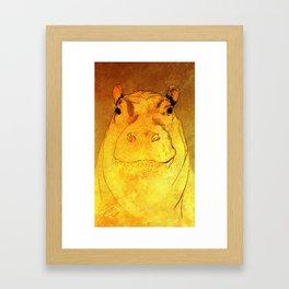 Golden Hippo Framed Art Print