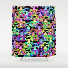 Colourful Cartoon Dragon Pattern Shower Curtain