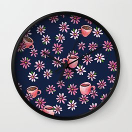 Coffee Lovers floral Wall Clock