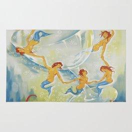 Brault Champagne Mermaids Vintage Poster Rug