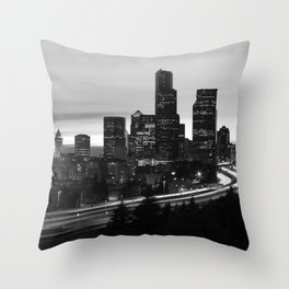 Seattle Skyline Sunset City - Black and White Throw Pillow
