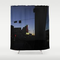 theatre Shower Curtains featuring Garneau Theatre Sign At Dusk by Katryna Jones