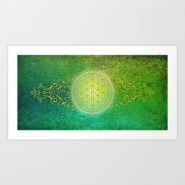 Flower Of Life Vintage gold green Art Print
