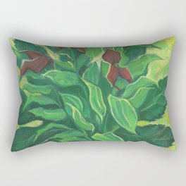Aralia Leaf, Leaves and Orchids, Floral Pastel Rectangular Pillow