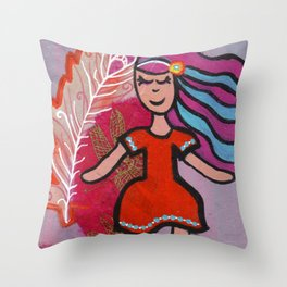 Free Spirit - Mixed Media Art - Fun, Colorful Painting Throw Pillow