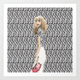 Red and Black Fashion Illustration Art Print