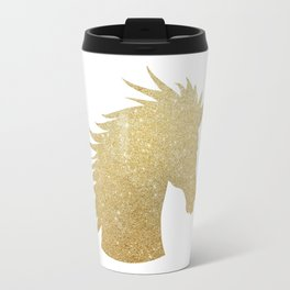 Gold Glitter Unicorn Travel Mug