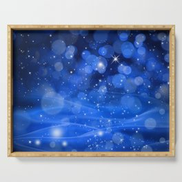 Whimsical Blue Glowing Christmas Sparkles Festive Holiday Art Serving Tray