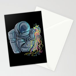 Astronaut with colorful Jellyfish Stationery Cards