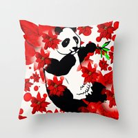 red panda Throw Pillows featuring Panda by Saundra Myles