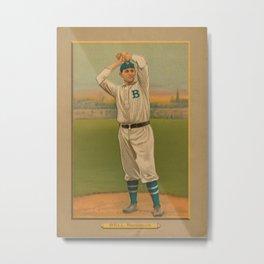 Vintage Backyard Baseball Player - Bell Brooklyn Metal Print