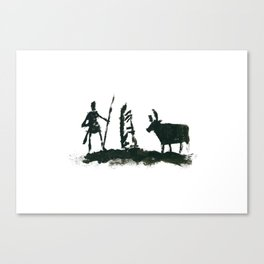Fear, Cloch ages Bó - Man, stone and cow Canvas Print