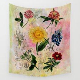 Botanical Study #5, Vintage botanical illustration collage art Wall Tapestry