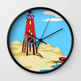 A Lighthouse on a Sandy Beach on a Sunny Day Wall Clock